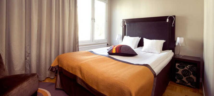 Här inkvarteras ni i moderna och bekvämt inredda hotellrum.