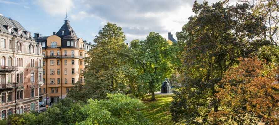 Hotellet är beläget vid den lugna parken Tegnérlunden, en kort promenad till Drottninggatan.
