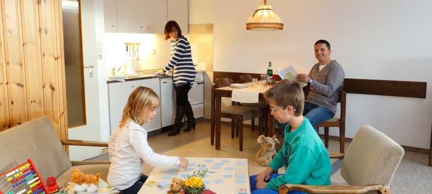 På Aparthotel Panoramic bliver I indkvarteret i lejligheder med køkken-alrum, hvor I selv kan tilberede maden.