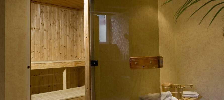 Hotellet har et treningsrom og en badstu. Det gjør godt å koble av her etter en dag ute i Wismar.