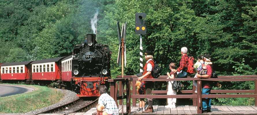 Endast 5 minuter från hotellet kan ni hoppa på tåget som tar er på en resa genom den kuperade terrängen.