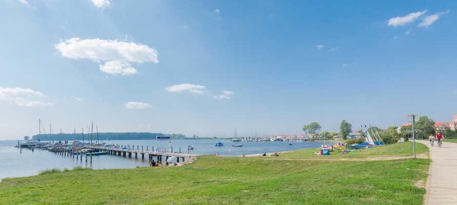 Genießen Sie einen Urlaub an der Ostseeküste mit idyllischer Grünanlage, Entspannung und Strandleben.