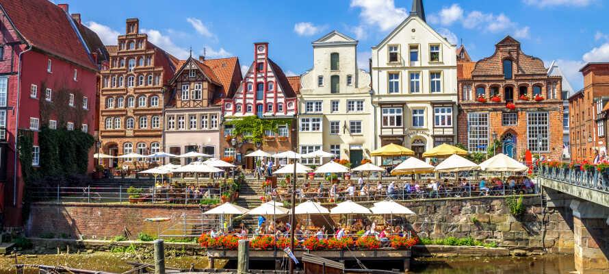 Tag på sightseeing og nyd den dejlige stemning i Lüneburg, eller kør på udflugt til storbyen, Hamborg.