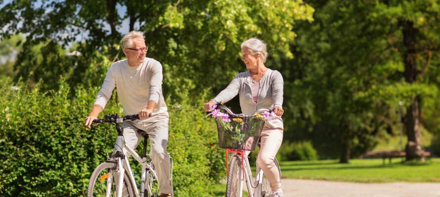 I kan leje både elektriske og standard cykler på hotellet og tage på en skøn tur i området.