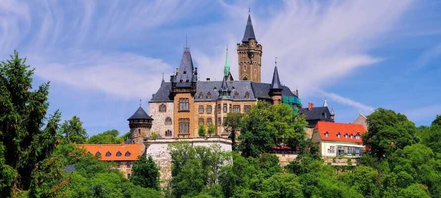 Ca. 40 km vom Hotel liegt das Schloss Wernigerode mit seiner Aussicht auf die bewaldeten Berge.
