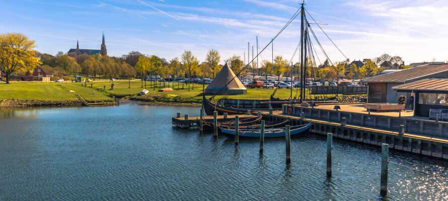 Passa på att tag med ressällskapet på utflykt till Roskilde och upplev stadens imponerande vikingaskepps-museum.