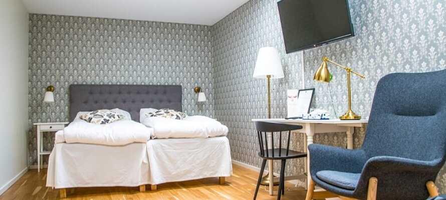 Her får I en god nats søvn og et godt udgangspunkt for opholdet på et af hotellets hyggelige dobbeltværelser