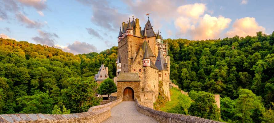 Machen Sie einen Ausflug zur Burg Eltz, nach Koblenz, zum Kurort Wiesbaden und zur Landeshauptstadt Mainz.