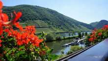 Blick vom Balkon: Das Moselhotel & Restaurant Traube  hat eine Top Lage direkt an der Mosel, im idyllischen deutschen Weindorf Löf.