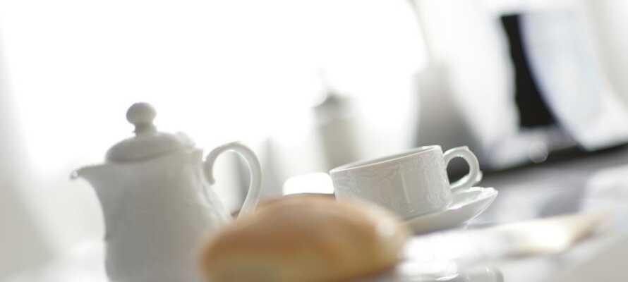 Här vaknar ni upp till en uppdukad frukostbuffé i matsalen.