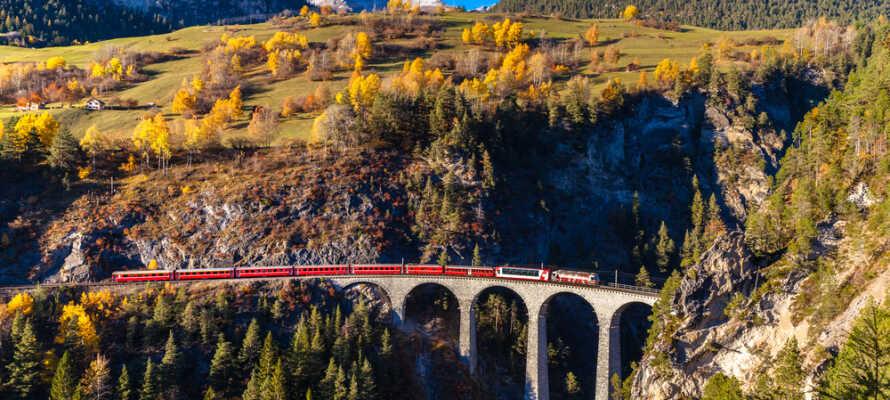 Området byder på mange oplevelser både sommer og vinter; tag en tur med Bernina Express toget og oplev smukke bjergtoppe.