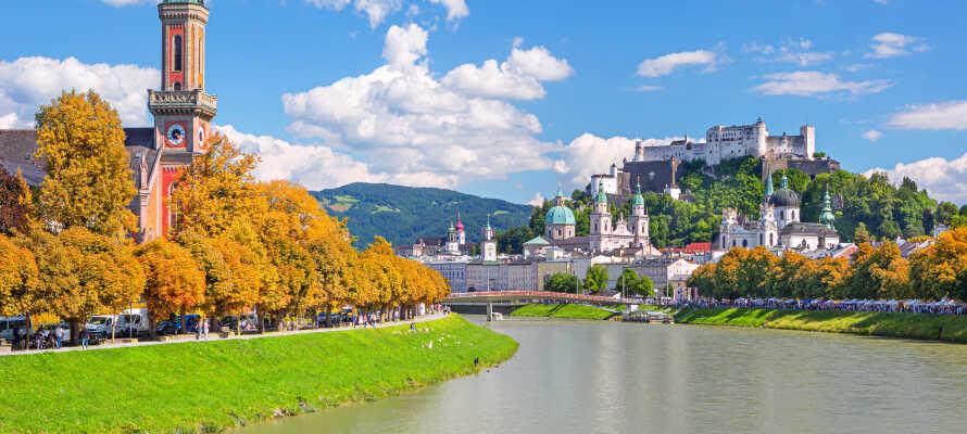 Den vakre byen Mozart, Salzburg, ligger ikke langt fra hotellet og er alltid verdt et besøk.