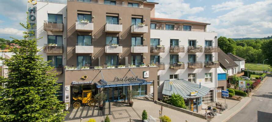 Posthotel Rotenburg ligger nydelig plassert i nærheten av bindingsverksbyen Rotenburg an der Fulda.