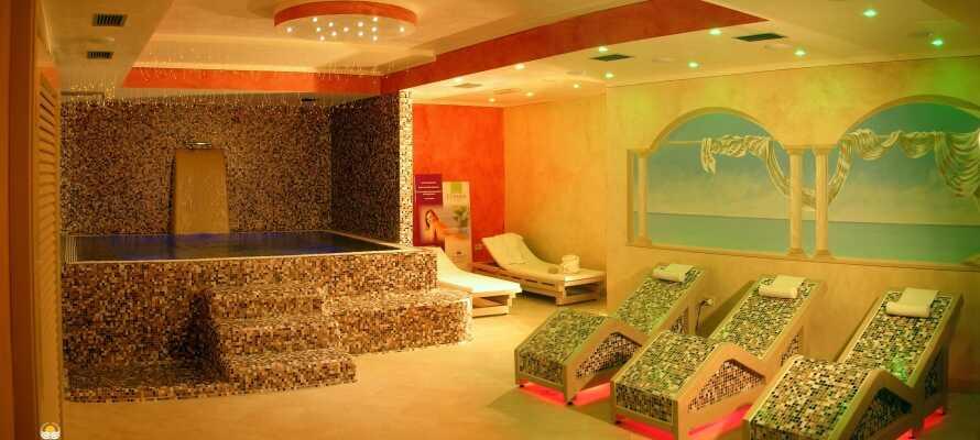 Under opholdet har I fri adgang til alle hotellets wellnessfaciliteter, som bl.a. tæller sauna, boblebad og dampbad.
