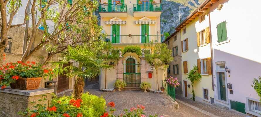Hotellet ligger nära staden  Limone sul Gardas historiska centrum där ni kan gå på mysiga promenader