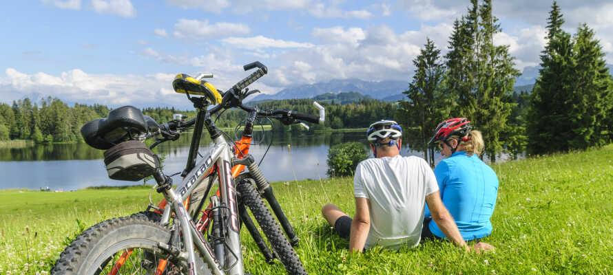 Bare 6 km fra hotellet går Den europeiske sykkelruten, R1. Her er det ladestasjon for el-sykler og et lite verksted.