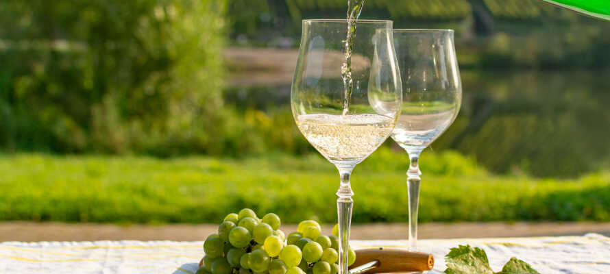 Slapp av med et glass vin fra regionen på den vakre terrassen, som har utsikt over vingårdene.