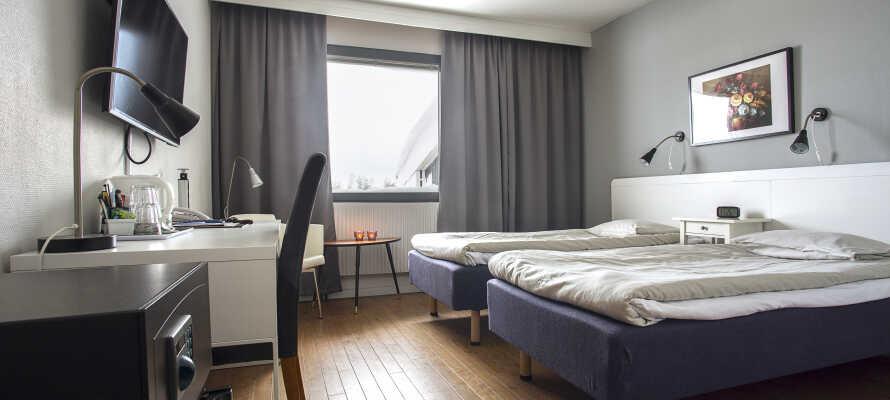 Hotellets rum är trevligt inredda med alla bekvämligheter ni kan tänka er och såklart en skön säng