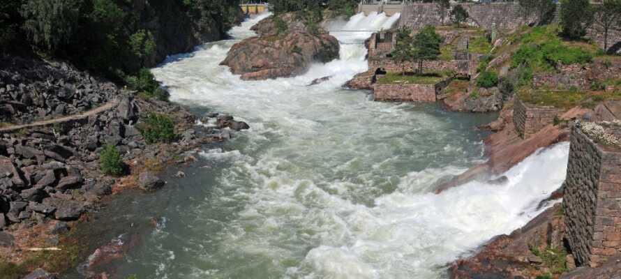 Se et af naturens vidundere ved det verdensberømte mere end 30 meter høje vandfald, Trollhättefallet!