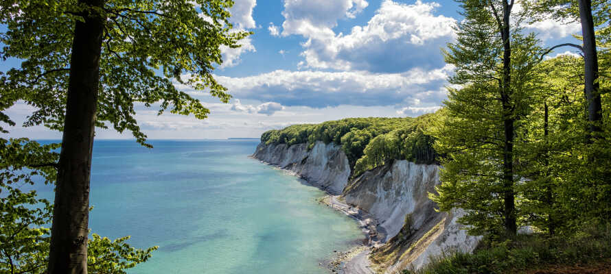 De berømte kridtklipper, 'Kreidelfelsen' ligger bare et par kilometer fra hotellet.
