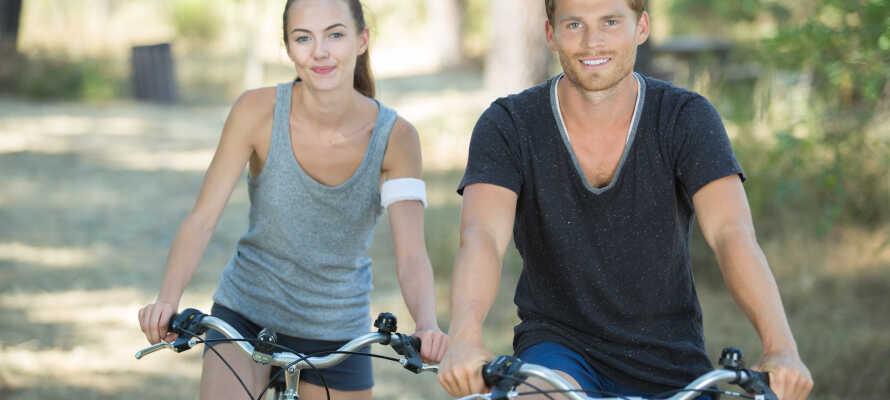 Der kan lejes cykler på hotellet, og det er en god måde at komme helt tæt på den smukke natur.