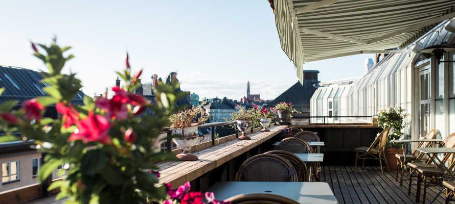 Slå er ner på den härliga takterrassen med utsikt över Stockholms takåsar.