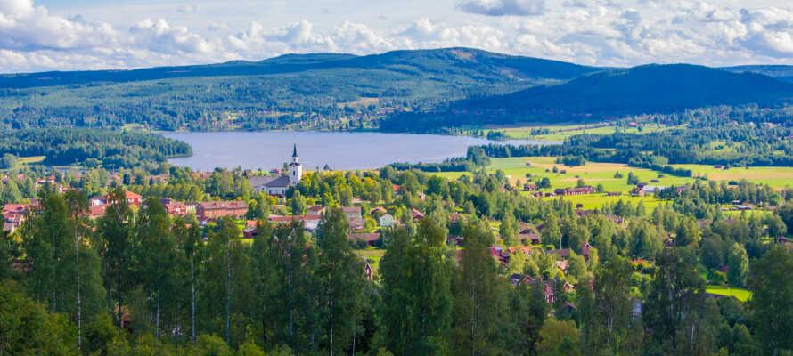 Tag på spændende udflugter i Dalarna og oplev charmerende byer og landsbyer, såsom Mora, Dalhalla og Rättvik.