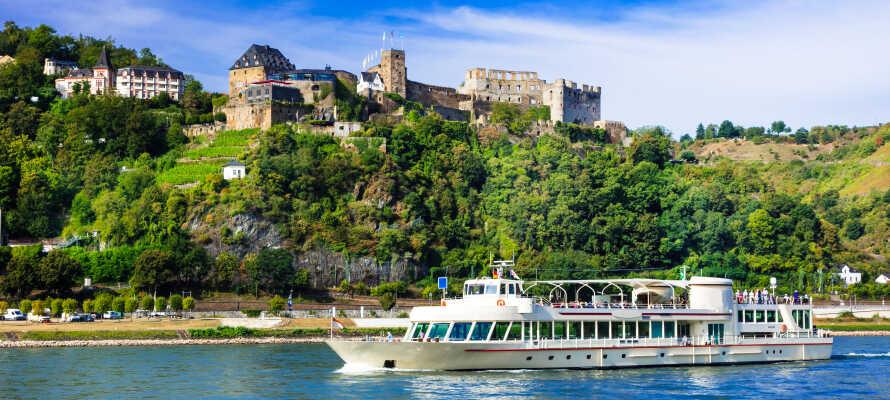 Åk på en idyllisk båttur på floden och besök områdets olika sevärdheter, såsom de historiska slotten.