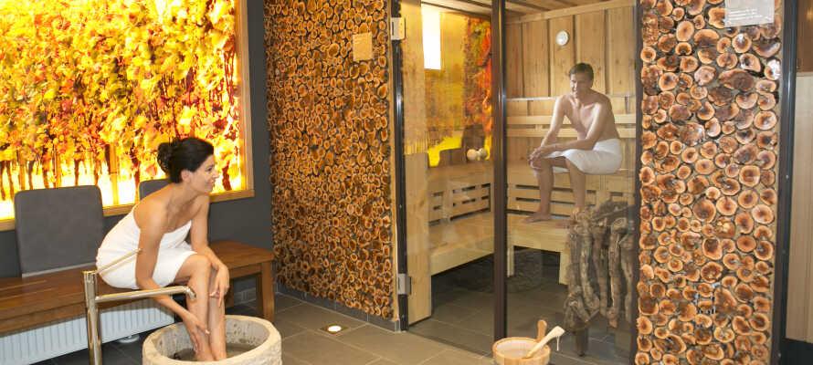 Hotellets eget wellnessområde indbyder til afslappende stunder efter en oplevelsesrig dag.