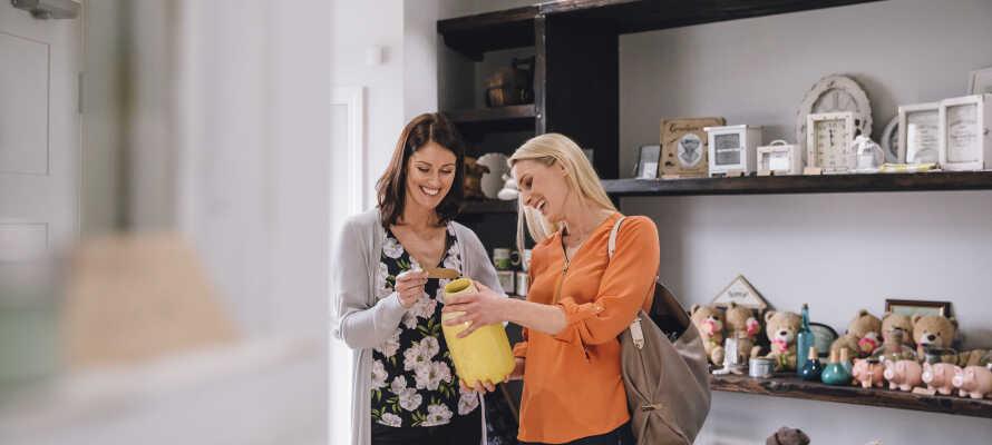 Der er gode muligheder for shopping, og Skagen by byder på mange små specielbutikker og lokale håndværksforretninger.