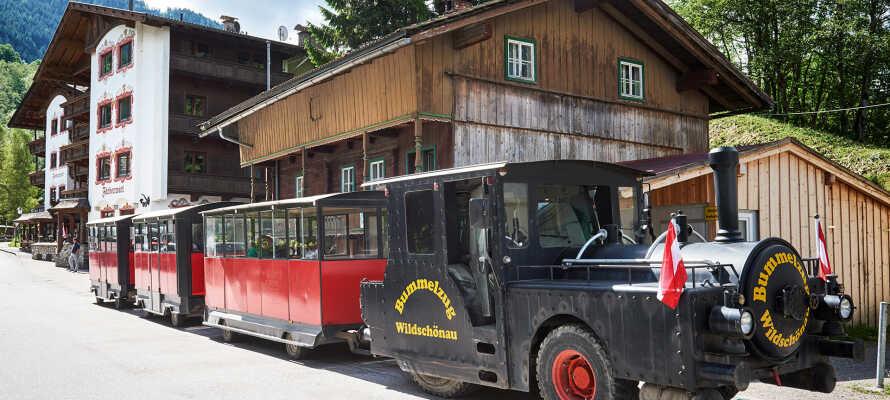 I direkt anslutning till hotellet stannar det lilla tåget som tar er till Kunderklamm på endast 5 minuter.