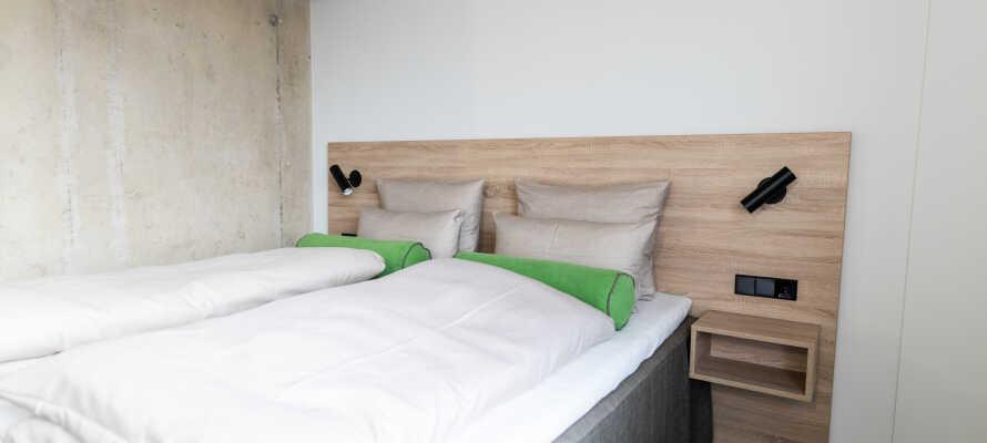 De komfortable værelser er udstyret med med senge af høj kvalitet, som sikrer en god nattesøvn.