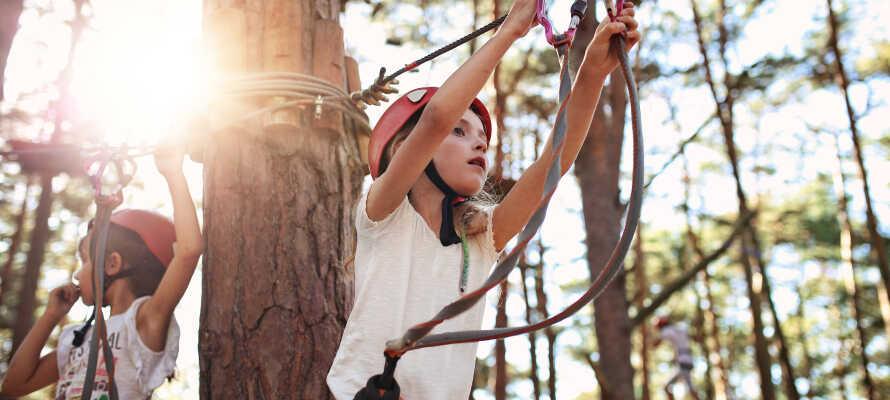 Tag ungerne med i den nærliggende adventurepark, som byder på action med klatring og parkour.