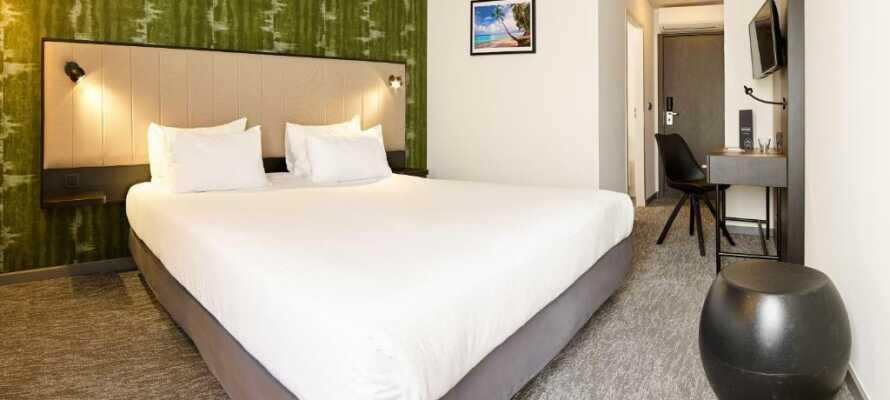 De moderne og hyggeligt indrettede værelser giver jer komfortable rammer under opholdet.