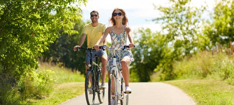 Hyr cyklar på hotellet och utforska närområdet på två hjul.