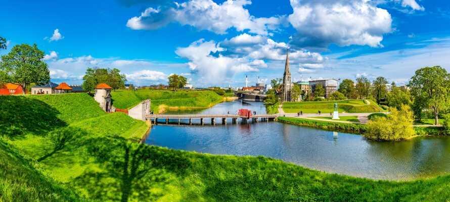 Die Gegend am Schloss hat schöne Grünflächen, in denen auch Sommerkonzerte stattfinden.