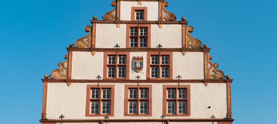 Die gepflegten alten Fachwerkhäuser im Zentrum von Bad Salzuflen sehen aus wie neu.