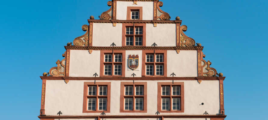 De gamle bindingværkshuse i centrum af Bad Salzuflen står som var de nye.