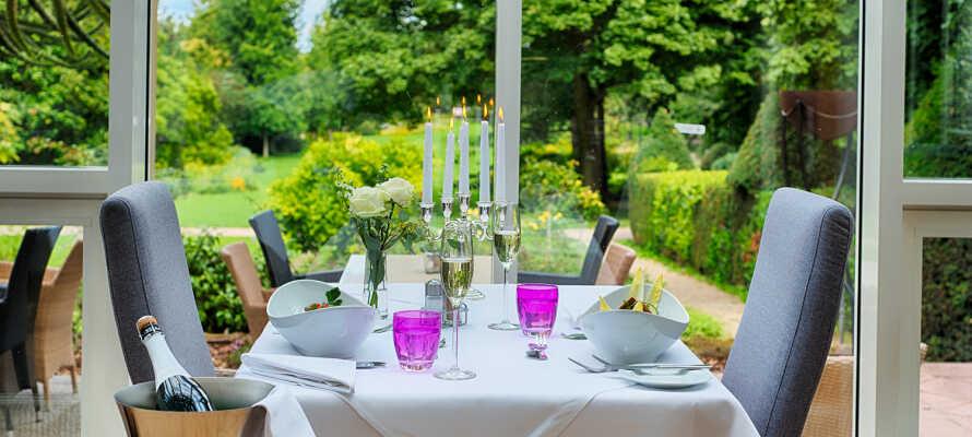 Genießen Sie ein schönes Abendessen mit gutem Essen und Wein in der wunderschönen Umgebung des Hotels.