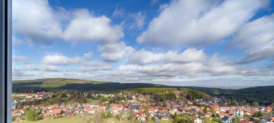 Fra hotellet har I en fantastisk udsigt direkte ud over Rennsteig.