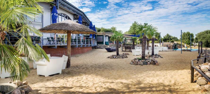 Slap af mellem palmetræerne på hotellets sandstrand med, som ligger lige mellem Elben, havnen og havnerestauranten.