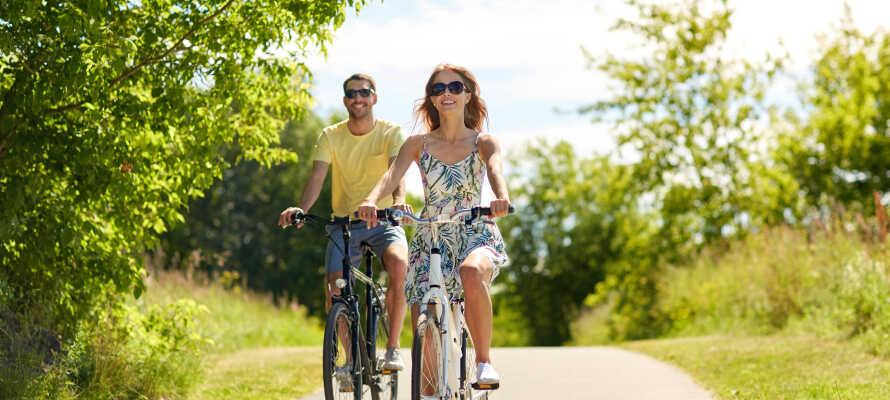 Hotellet ligger omgivet af smukke, grønne områder som indbyder til vandre-, løbe- og cykelture.