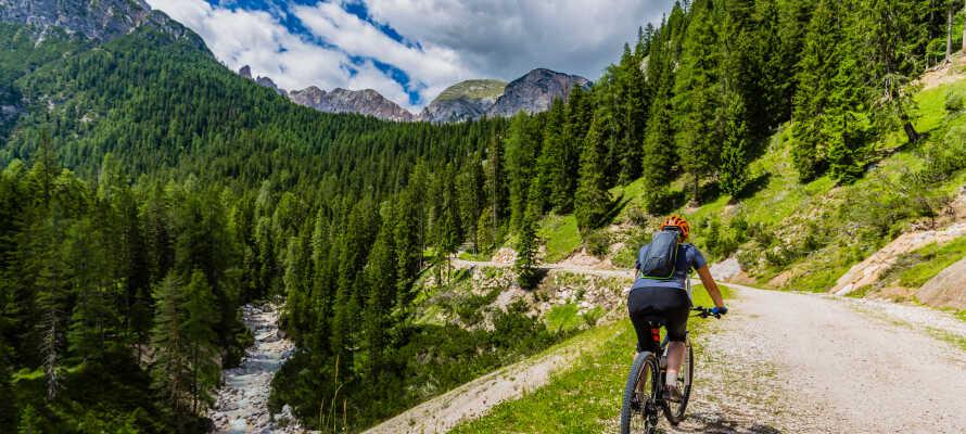 Dolomitterne er som skræddersyet til mountainbiking, og i kan leje cykler direkte på hotellet.
