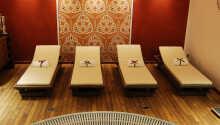 Wellnessområdet omfatter bl.a. sauna, dampbad, boblebad og behandlinger.