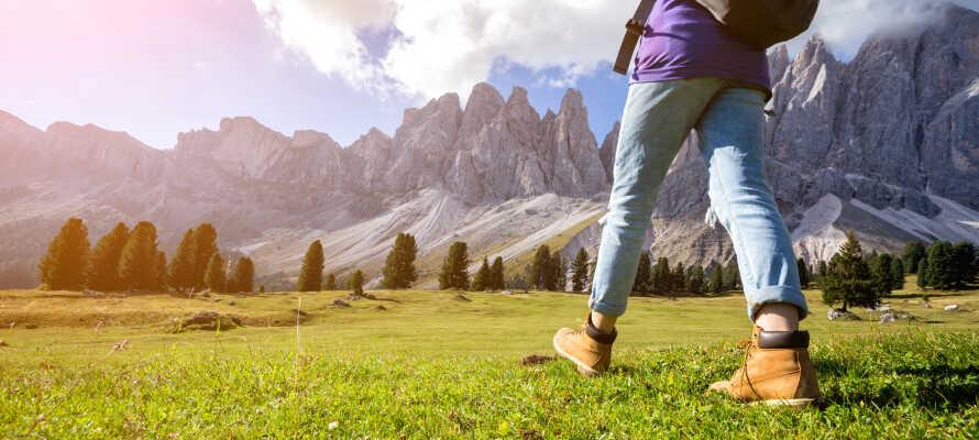 Hotellet tilbyder har alletiders udgangspunkt for vandre- og cykelture i de UNESCO-listede Dolomitter.