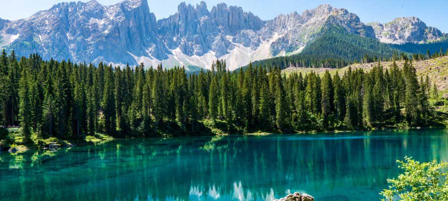 Nyd de fantastiske omgivelser omkring søen, Carezza, som ligger en kort køretur fra hotellet.