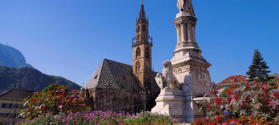 Besøg den charmerende by, Bolzano, som ligger i 265 meters højde over havets overflade.