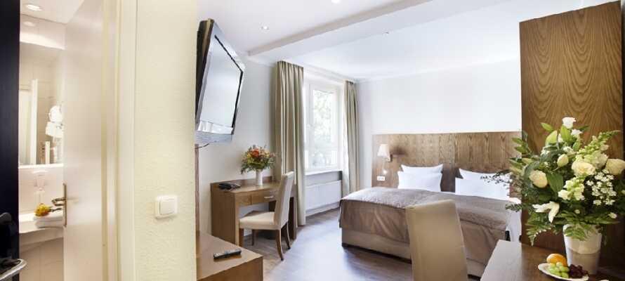 De lækre dobbeltværelser danner en behagelig ramme om Jeres ophold i Tysklands næststørste by.