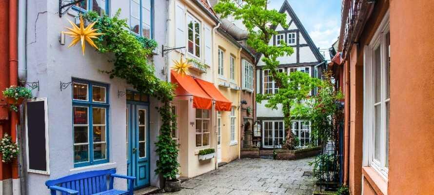 I Bremen skal I gå igennem Schnoor Kvarteret med de små gader og charmerende huse.