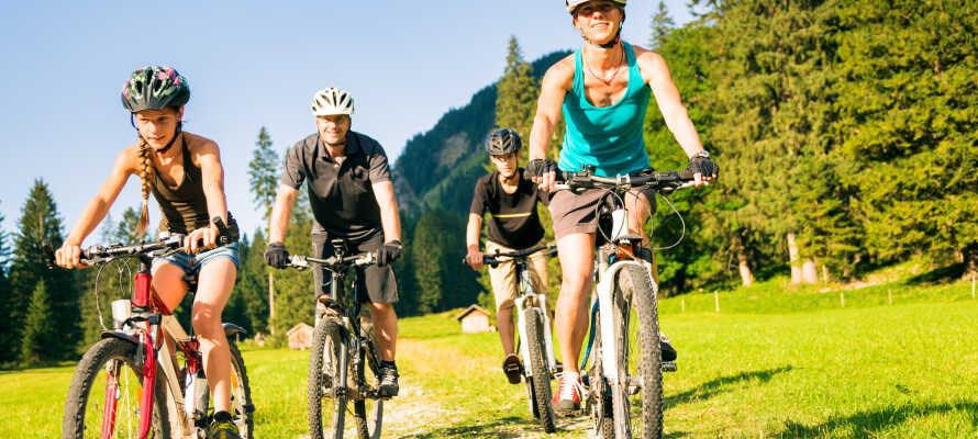 Under sommarhalvåret kan ni uppleva de natursköna omgivningarna genom cykling eller vandring.